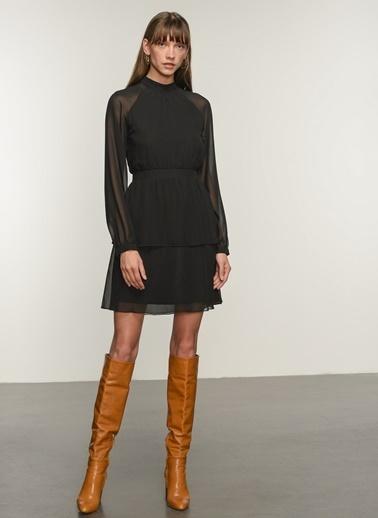NGSTYLE Ngkaw20El0019 Volan Detaylı Elbise Siyah